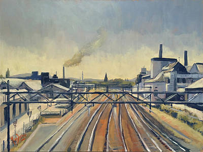 Painting - Train Tracks Maastricht by Nop Briex