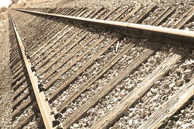 Photograph - Train Tracks Sepia Triangular  by James BO Insogna