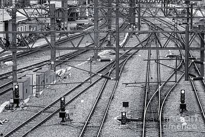 Photograph - Train Tracks, Signals And Power Lines by Yali Shi