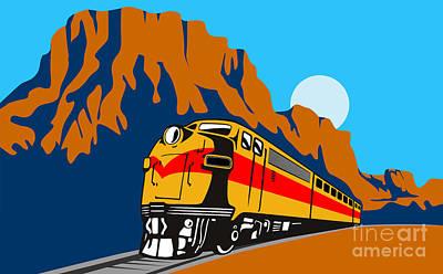 Train Traveling With Canyon Art Print by Aloysius Patrimonio