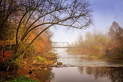 Photograph - Train Trestle In The Fog by Debra and Dave Vanderlaan