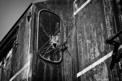 Train Vandalized Black And White Art Print