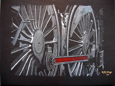Painting - Train Wheels 1 by Richard Le Page