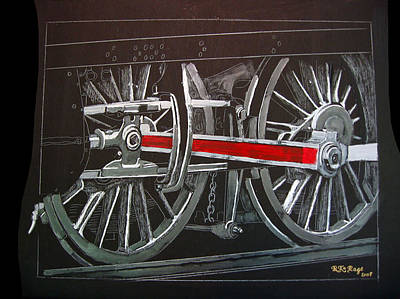Painting - Train Wheels 4 by Richard Le Page