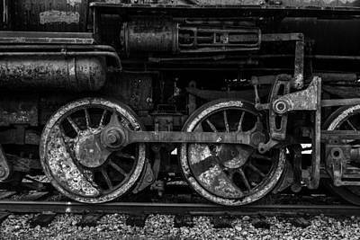 Photograph - Train Wheels And Connecting Rods Black And White by TL  Mair