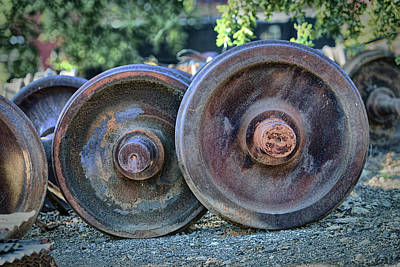 Art Print featuring the photograph Train Wheels by Steve Siri