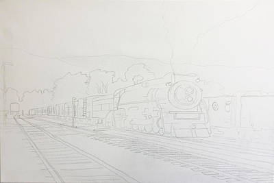 Painting - Train Work In Progress  by Darice Machel McGuire
