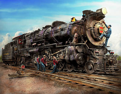 Train Photograph - Train - Working On The Railroad 1930 by Mike Savad