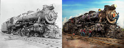 Photograph - Train - Working On The Railroad 1930 - Side By Side by Mike Savad