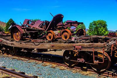 Train Wreckage On Flat Car Art Print by Garry Gay