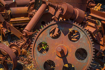 Gear Photograph - Train Yard Gears by Garry Gay