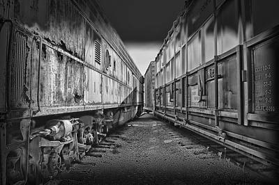 Black Tie Mixed Media - Train Yards Black And White by Thomas Woolworth