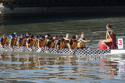 Photograph - Training For The Dragon Boat Races In Taiwan by Yali Shi