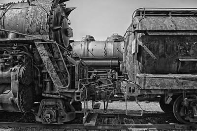 Steam Engine Mixed Media - Trains Ancient Iron Bw by Thomas Woolworth