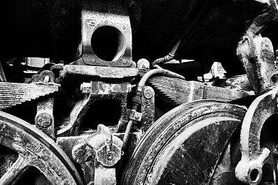Trains Ancient Iron Parts Bw Art Print