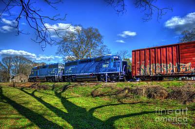 Photograph - Trains And Shadows Carterparrott Railnet Locomotive Train Art by Reid Callaway