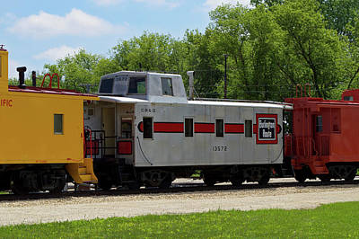 Steam Engine Mixed Media - Trains Caboose 13572 Burlinton Route 02 by Thomas Woolworth