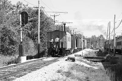 Caboose Mixed Media - Trains Caboose Bw by Thomas Woolworth