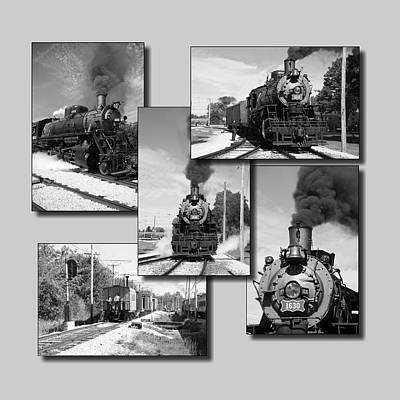 Rail Road Mixed Media - Trains Irm Collage Bw Grey Background Square by Thomas Woolworth