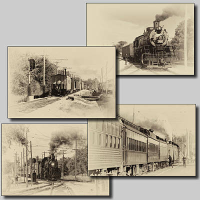 Trains Irm Collage Heirloom Finish Square Art Print by Thomas Woolworth
