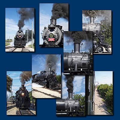 Trains Irm Collage Steam Engine 1630 Square Art Print