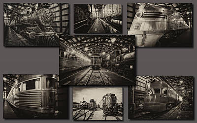 Rail Road Mixed Media - Trains Irm Sepia Collage by Thomas Woolworth