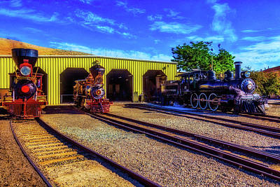 Photograph - Trains Leaving The Train Barn by Garry Gay