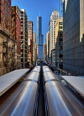 Photograph - Trains Running Through Downtown Chicago by Justin Kelefas