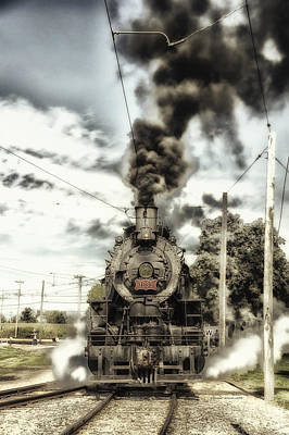 Rail Road Mixed Media - Trains Steam Engine 1630 Approaching The Station Pa 02 Vertical by Thomas Woolworth