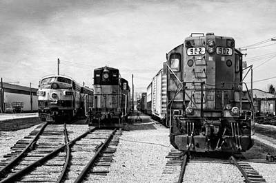 Black Tie Mixed Media - Trains Triple Engine Power Bw by Thomas Woolworth