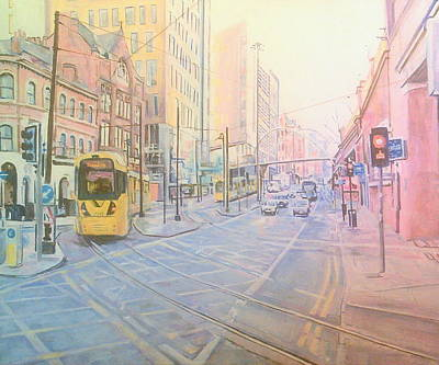 Painting - Tram About To Turn Into Piccadilly Metro Station, Manchester by Rosanne Gartner