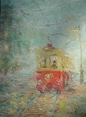 Old Tram Painting - Tram From Childhood. 1988 by Ivan KRUTOYAROV
