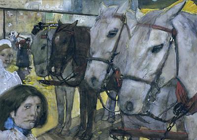 Tram Horses On Dam Square In Amsterdam Art Print