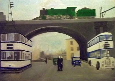 1950s Tram, Locomotive, Bus And Cars In Sheffield  Art Print
