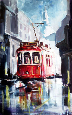 Old Tram Painting - Tram On The Street by Zlatko Music