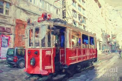 Digital Art - Tram  To Taksim In Istanbul by Patricia Hofmeester