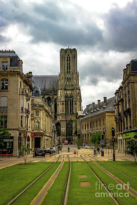 Ollivrosa Wall Art - Photograph - Tram Tracks To Notre Dame by Amy Sorvillo
