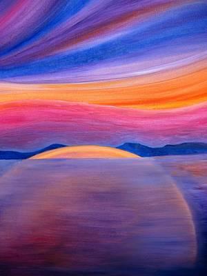Tramonto Sul Lago Art Print by Alberto V  Donati