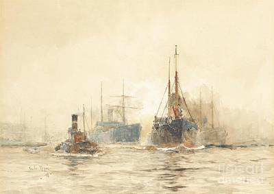 Tramp Steamer Painting - Tramp Steamers In The Thames Estuary by MotionAge Designs