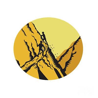 Trampers Climbing Steep Path Mountain Oval Woodcut Art Print by Aloysius Patrimonio