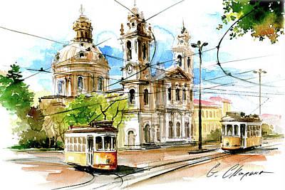 Trams At Estrela Basilica Original