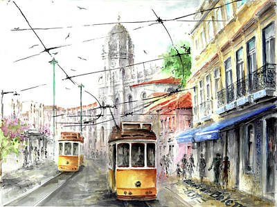Moral Painting - Trams In Belem At Pasteis De Belem Lisbon by Elena Petrova Gancheva