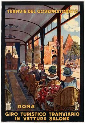 Mixed Media - Tramvie Del Governatorato - Roma - Retro Travel Poster - Vintage Poster by Studio Grafiikka