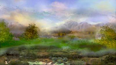 Digital Art - Tranquil Alpine Village by Joan Scarbrough