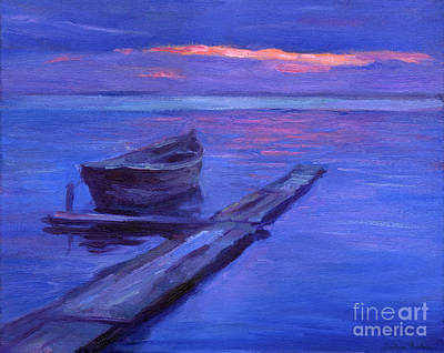 Sunset Drawing - Tranquil Boat Sunset Painting by Svetlana Novikova