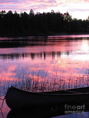 Tranquil Canoe In Sunset Art Print