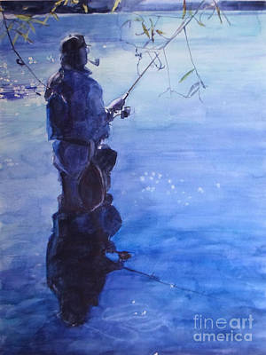 Painting - Watercolor Tranquil Fishing by Greta Corens