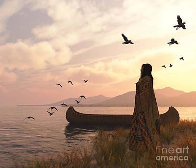 Canoe Digital Art - Tranquil Sea At Sunset by Diana Voyajolu