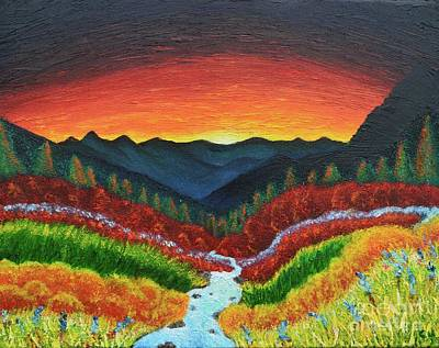 Tranquil Sunset Over Mountains Original