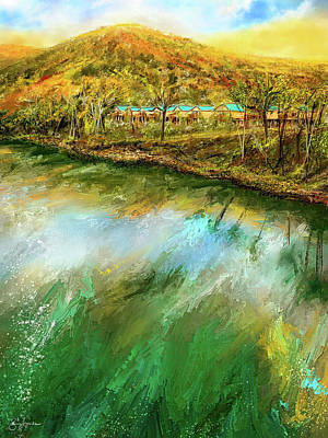 Painting - Tranquility Cottages - Anglers White River Resort Arkansas - Mountain View, Arkansas by Lourry Legarde